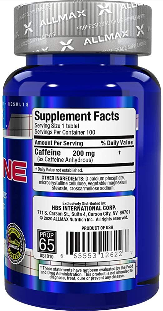 Allmax - Caffeine - 100 Caps Back
